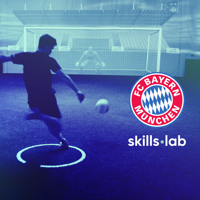 Image of skills.lab Arena with logo of FC Bayern