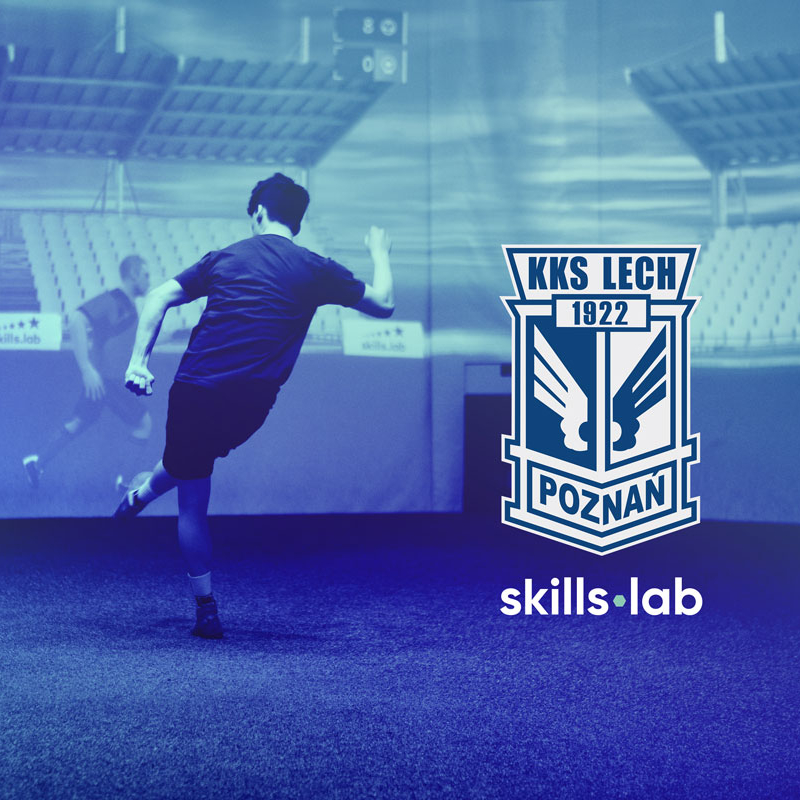 Image of skills.lab Arena with logo of Lech Poznań